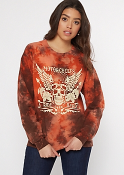 Orange Tie Dye Motorcycle Skull Graphic Pullover