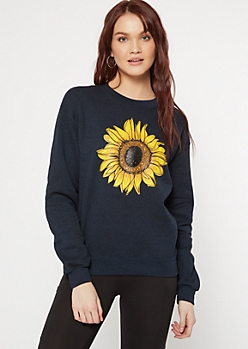 Navy Marled Sunflower Graphic Pullover