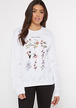 White Botanical Garden Chart Graphic Pullover