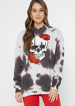 Black Tie Dye Rose Skull Graphic Hoodie