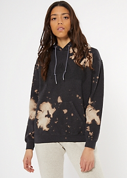 Black Def Leppard Bleach Dye Graphic Hoodie