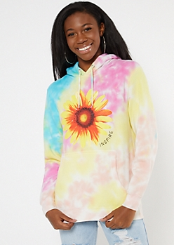 Bright Tie Dye Sunflower Inspire Graphic Hoodie