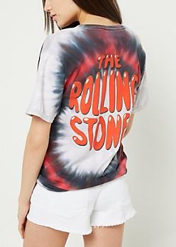 Tie Dye Rolling Stones Cutout Tee