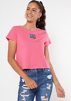 Neon Pink MTV Boxy Embroidered Tee