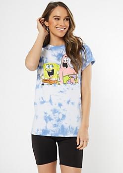 Blue Tie Dye SpongeBob Patrick Graphic Tee
