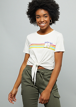 3259c8afc70 White Varsity Striped Coke Ringer Graphic Crop Top | Graphic Tees ...