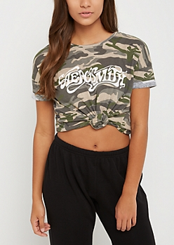 Aerosmith Camo Lace Up Tee