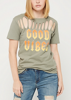 Good Vibes Slashed Tee