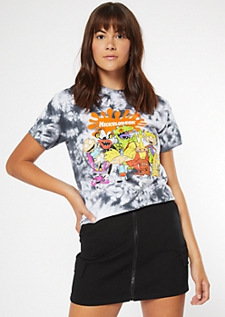 Black Tie Dye Nickelodeon Splat Graphic Tee