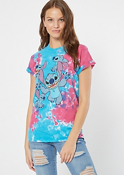 Blue Tie Dye Stitch Graphic Tee
