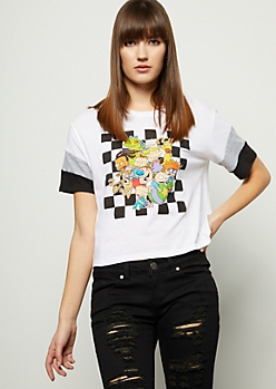 White Rugrats Colorblock Sleeve Skimmer Graphic Tee