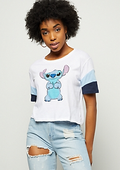 White Stitch Colorblock Sleeve Graphic Tee