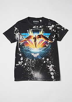 Black Bleach Splatter Wonder Woman 84 Graphic Tee