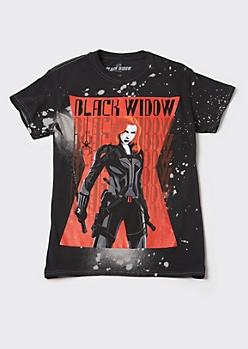 Black Bleach Splatter Black Widow Graphic Tee