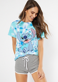 Teal Tie Dye Wink Stitch Graphic Tee