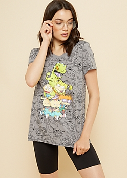 Gray Allover Rugrats Crew Outlined Print Tee