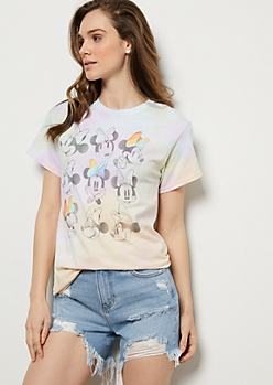 Rainbow Pastel Repeat Minnie Mouse Graphic Tee