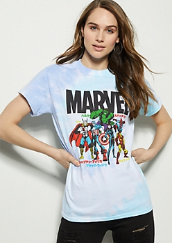 Blue Tie Dye Marvel Avengers Graphic Tee