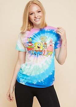 Spiral Tie Dye SpongeBob Oversized Tee