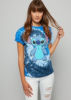 Blue Tie Dye Stitch Oversized Tee
