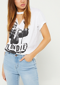 White Blondie Choker Tee