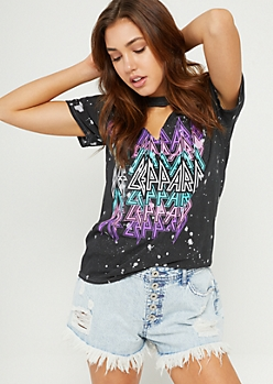 Black Washed Def Leppard Cutout Tee