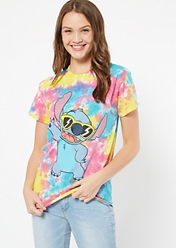 Rainbow Tie Dye Sunglasses Stitch Graphic Tee