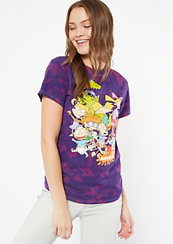 Purple Tie Dye Nickelodeon Group Graphic Tee