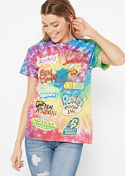 Rainbow Tie Dye Nick Toons Logo Graphic Tee