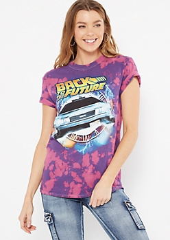 Purple Tie Dye Back To The Future Graphic Tee