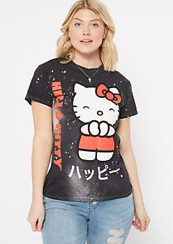 Black Bleached Hello Kitty Kanji Graphic Tee