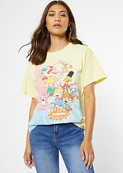 Rainbow Pastel Tie Dye Nickelodeon Group Graphic Tee