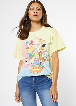 Rainbow Pastel Tie Dye Nickelodeon Group Graphic Tee