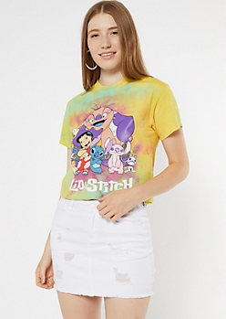 Bright Tie Dye Lilo And Stitch Graphic Tee