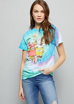 Bright Tie Dye SpongeBob Oversized Graphic Tee