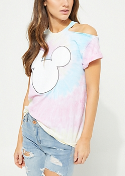 Tie Dye Mickey Mouse One Shoulder Tee