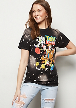 Black Bleached Print Toy Story Graphic Tee
