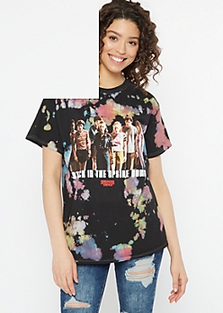 Black Bleached Stranger Things Graphic Tee