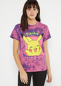 Purple Tie Dye Pokemon Kanji Graphic Tee