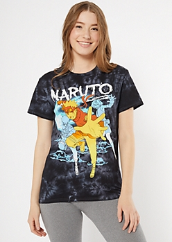 Black Tie Dye Naruto Graphic Tee