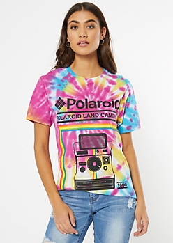 Rainbow Tie Dye Retro Polaroid Graphic Tee