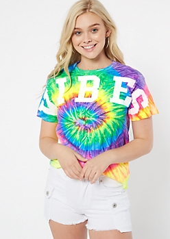 Neon Rainbow Tie Dye Vibes Spirit Jersey Graphic Tee