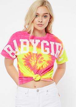 Neon Tie Dye Baby Girl Spirit Jersey Graphic Tee