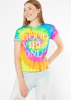 Rainbow Tie Dye Good Vibes Graphic Tee