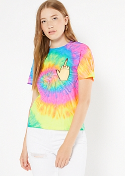 Rainbow Tie Dye Tattoo Hand Graphic Tee
