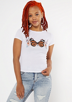 White Monarch Butterfly Ribbed Baby Tee