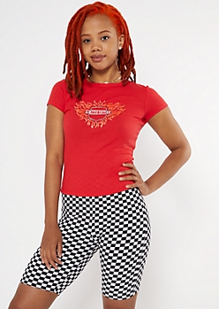 Red Limited Edition Moto Ribbed Baby Tee