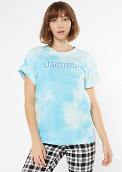 Blue Tie Dye Antisocial Graphic Tee