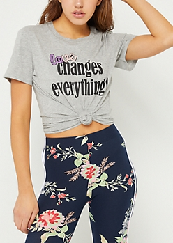 Gray Love Changes Everything Sequin Tee