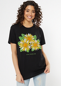 Black Los Angeles Sunflower Graphic Tee